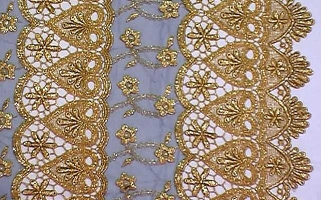 1m Lurex-Tüll 1,25 m breit Farbe: Gold-Dunkelblau1