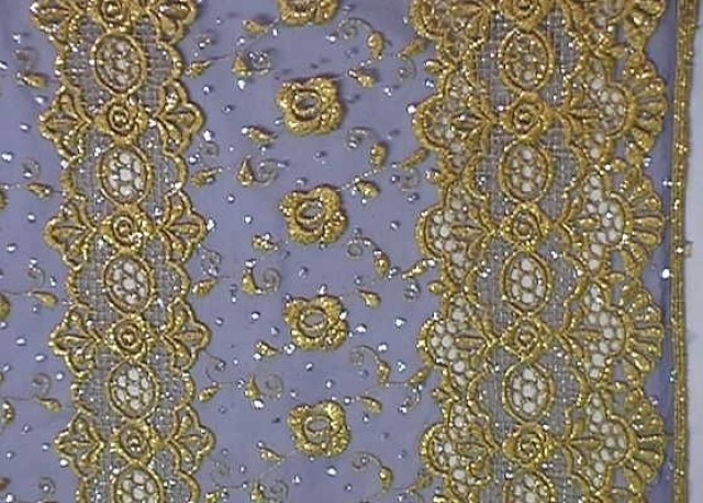 1m Lurex-Tüll 1,25 m breit Farbe: Gold-Dunkellila1