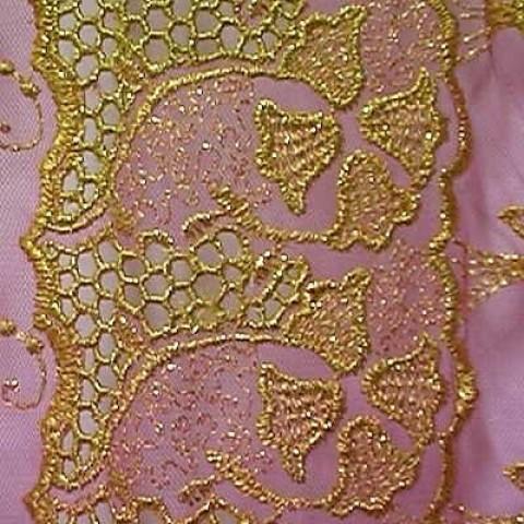 1m Lurex-Tüll 1,25 m breit Farbe: Gold-Pink1