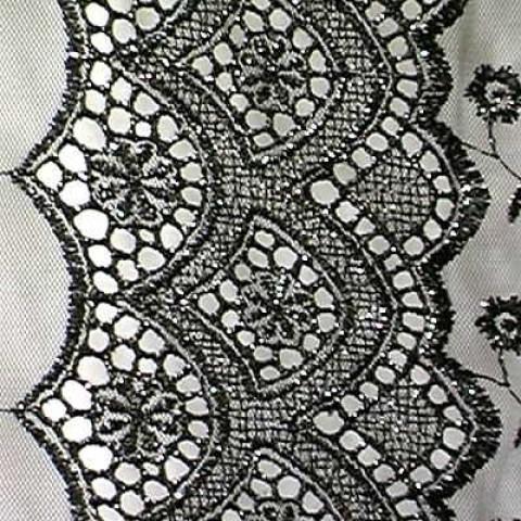 1m Lurex-Tüll 1,25 m breit Farbe: Schwarz-Silber1