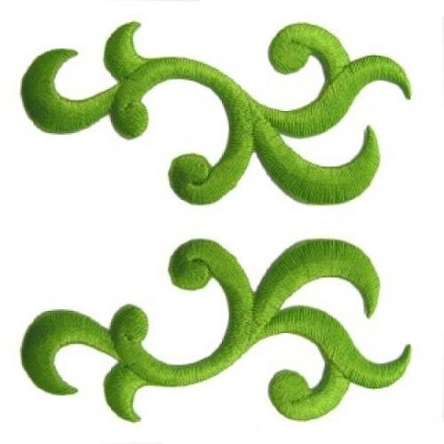 1 Paar Applikationen Patch Tribal Farbe: Grasgrün