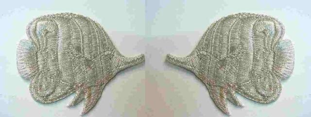 1 Paar Applikationen Patch Sticker Fische AA355-33 Farbe: Lurex-Silber