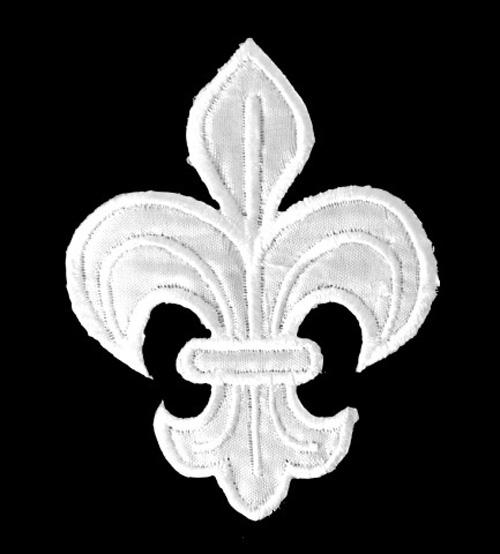 1 Applikation Königslilie Fleur de Lis 6x8cm Farbe: Weiss