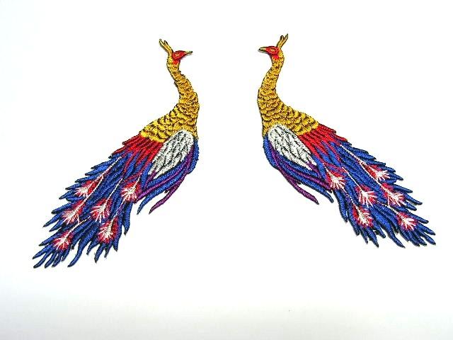 1 Paar Applikationen vom Vogel Pfau 4x12cm AA463-1