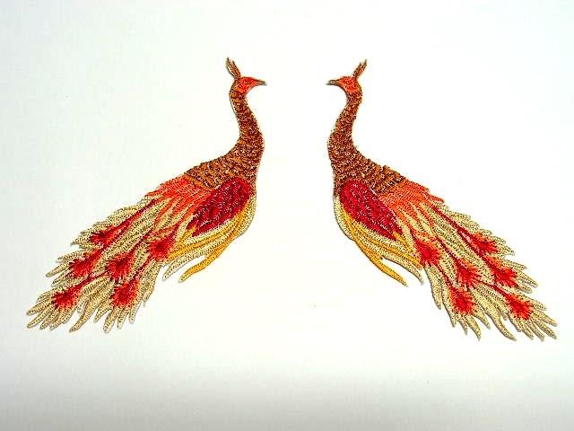 1 Paar Applikationen vom Vogel Pfau 4x12cm AA463-22