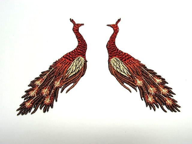 1 Paar Applikationen vom Vogel Pfau 4x12cm AA463-13