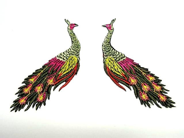 1 Paar Applikationen vom Vogel Pfau 4x12cm AA463-15