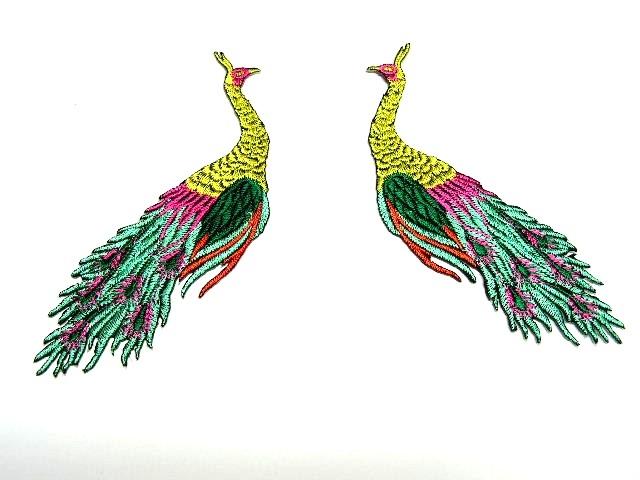 1 Paar Applikationen vom Vogel Pfau 4x12cm AA463-4