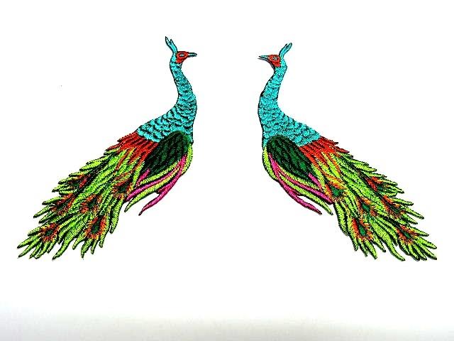 1 Paar Applikationen vom Vogel Pfau 4x12cm AA463-6