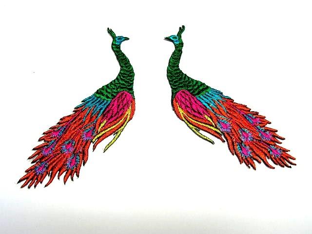 1 Paar Applikationen vom Vogel Pfau 4x12cm AA463-8