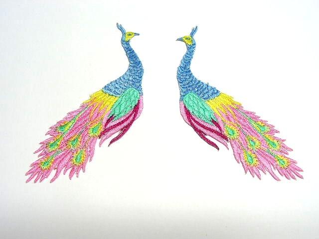 1 Paar Applikationen vom Vogel Pfau 4x12cm AA463-20