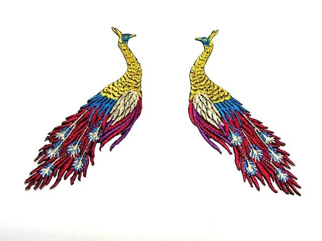 1 Paar Applikationen vom Vogel Pfau 4x12cm AA463-11