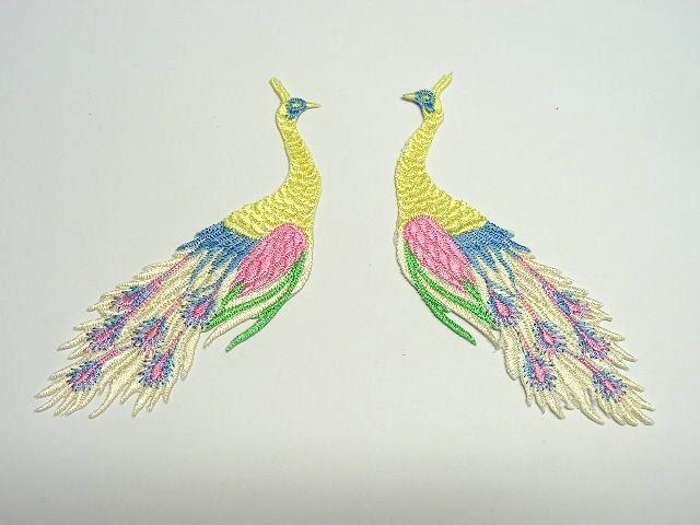 1 Paar Applikationen vom Vogel Pfau 4x12cm AA463-23