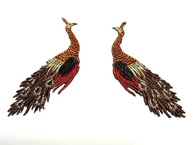 1 Paar Applikationen vom Vogel Pfau 4x12cm AA463-14