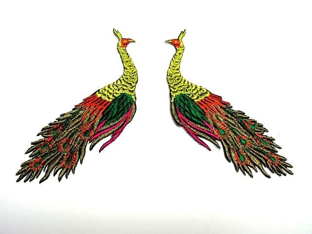 1 Paar Applikationen vom Vogel Pfau 4x12cm AA463-16