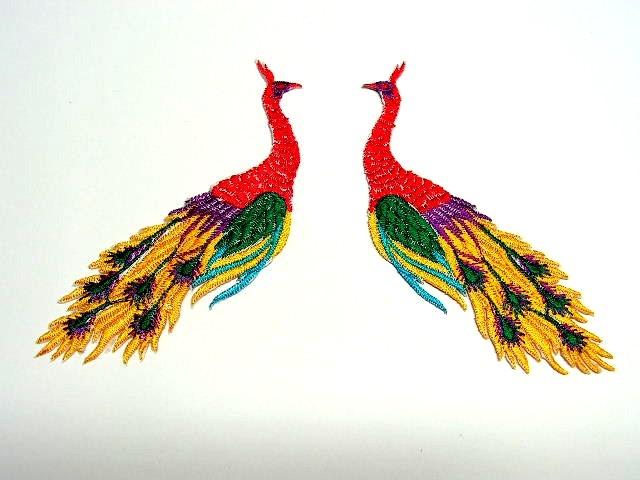 1 Paar Applikationen vom Vogel Pfau 4x12cm AA463-18