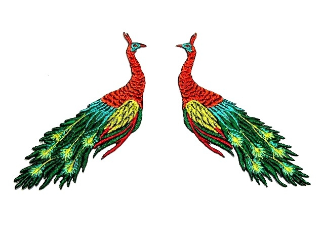 1 Paar Applikationen vom Vogel Pfau 4x12cm AA463-7