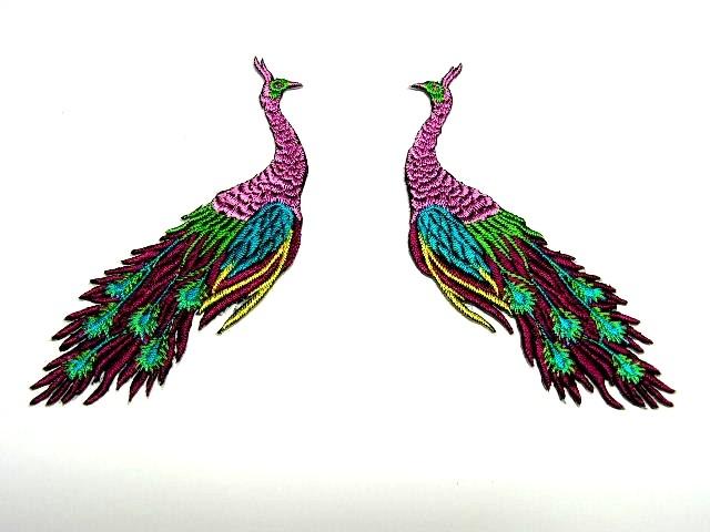 1 Paar Applikationen vom Vogel Pfau 4x12cm AA463-12