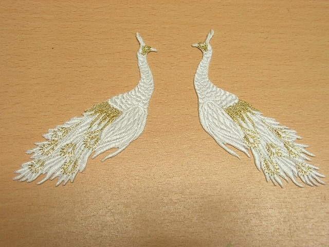 1 Paar Applikationen vom Vogel Pfau 4x12cm AA463-24
