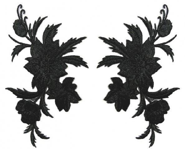 1 Paar historische Applikationen AF45-3 Farbe: Schwarz