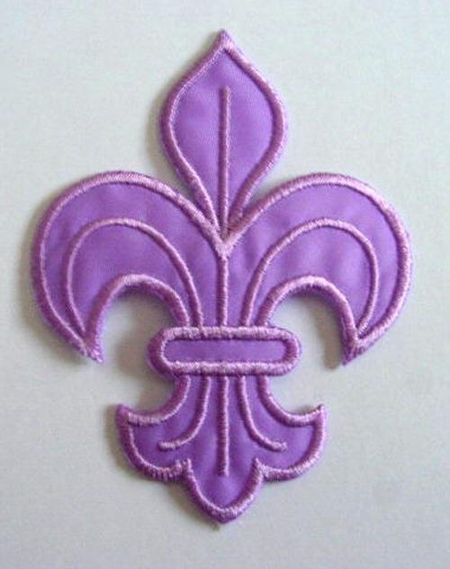 1 Applikation Königslilie Fleur de Lis 6x8cm Farbe: Violett