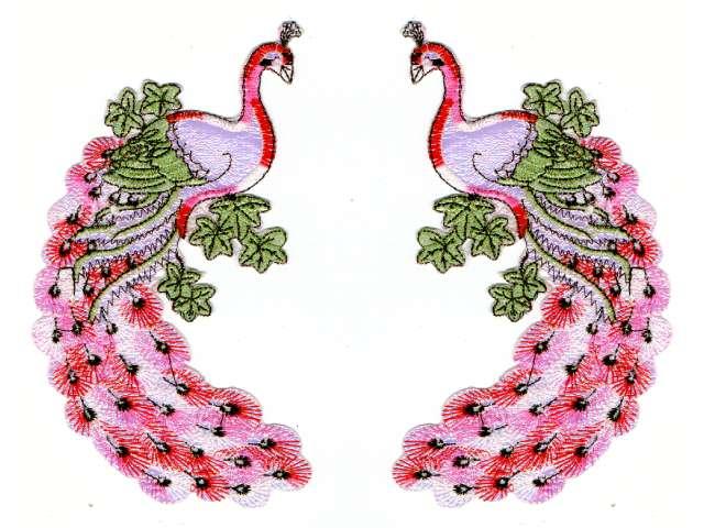 1 Paar Applikationen vom Vogel Pfau 9,5x19cm AA471-1