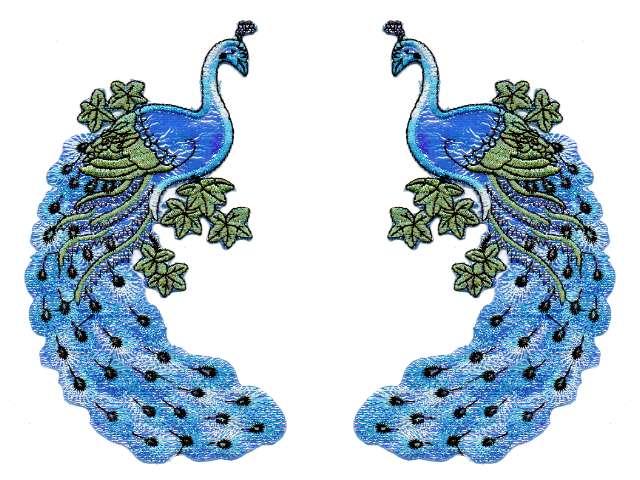 1 Paar Applikationen vom Vogel Pfau 9,5x19cm AA471-6