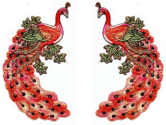 1 Paar Applikationen Vogel Pfau 5,5x11cm Farbe: Orange