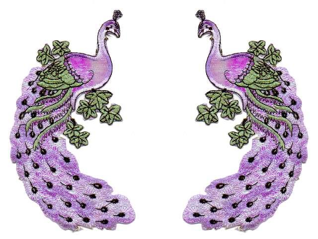 1 Paar Applikationen Vogel Pfau 5,5x11cm Farbe: Violett