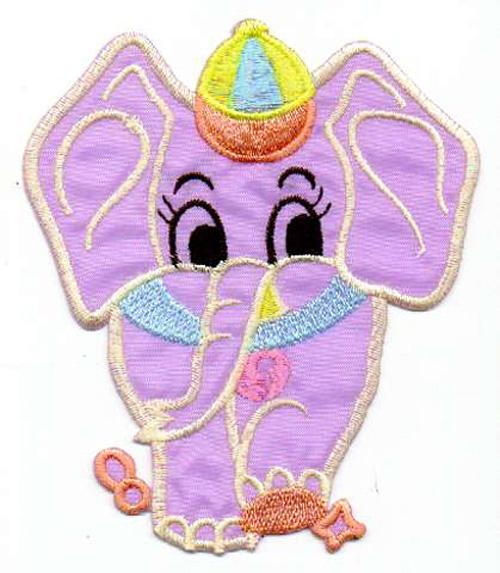 1 Applikation Elefant 9,5 x 11cm Farbe: Lila AA472-6