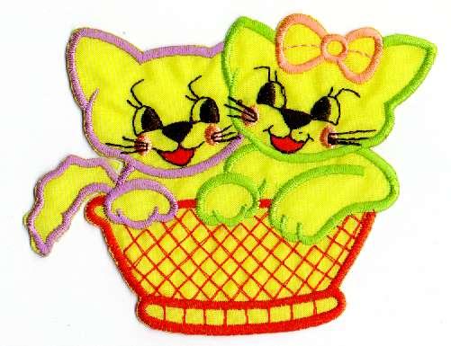 1 Applikation Katzenpaar 9,5 x 11cm Farbe: Gelb AA472-9