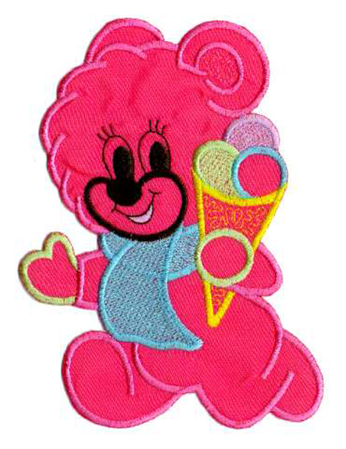 1 Applikation Teddy 12 x 15,5cm Farbe: Pink AA472-12