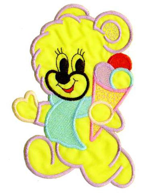 1 Applikation Teddy 12 x 15,5cm Farbe: Gelb AA472-13