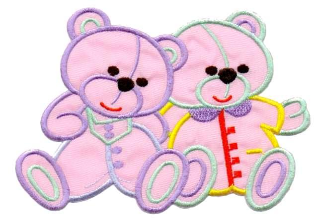 1 Applikation 2 Teddy`s 15 x 10cm Farbe: Rosa AA472-16
