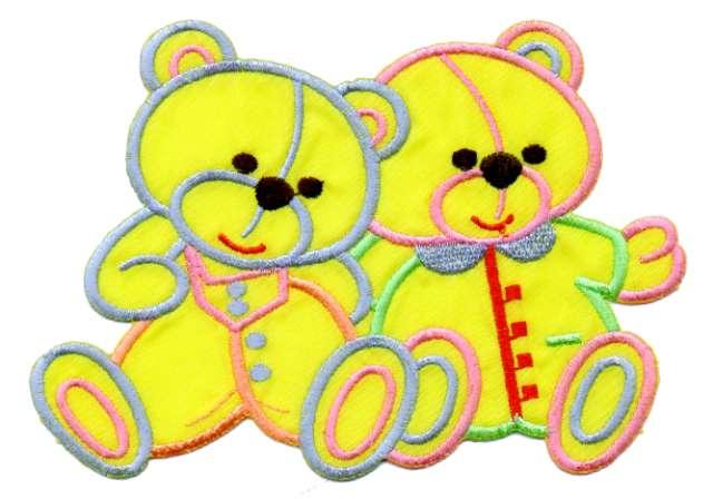 1 Applikation 2 Teddy`s 15 x 10cm Farbe: Gelb AA472-15