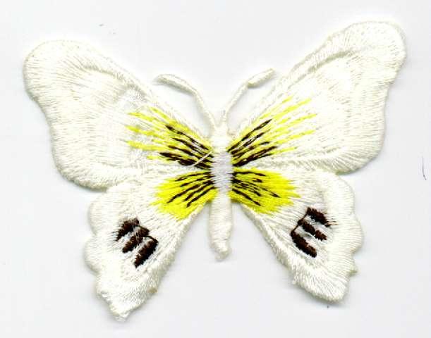 1 Applikation Schmetterling 7 x 5,5cm Farbe: Weiss