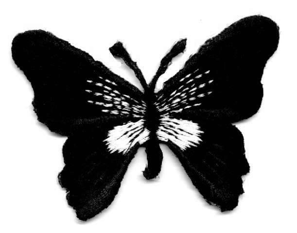 1 Applikation Schmetterling 7 x 5,5cm Farbe: Schwarz-Weiss