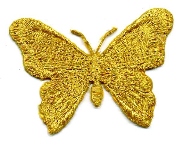 1 Applikation Schmetterling 7 x 5,5cm Farbe: Lurex-Gold