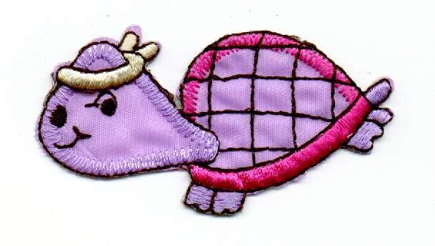 1 Applikation Schildkröte 6,5 x 3cm Farbe: Lila AA469-2