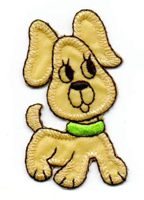 1 Applikation Hund 3,5 x 6cm Farbe: Ocker AA469-3