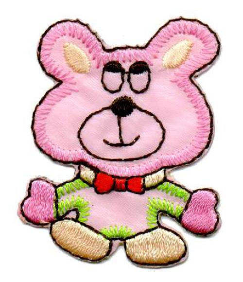 1 Applikation Teddy Bär 4 x 5cm Farbe: Pink AA469-36