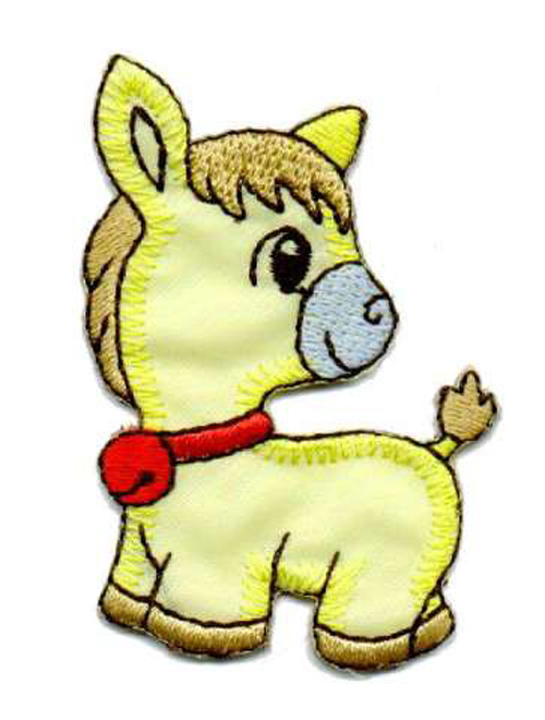 1 Applikation Pony Pferdchen 4 x 6,5cm Farbe: Gelb AA469-42