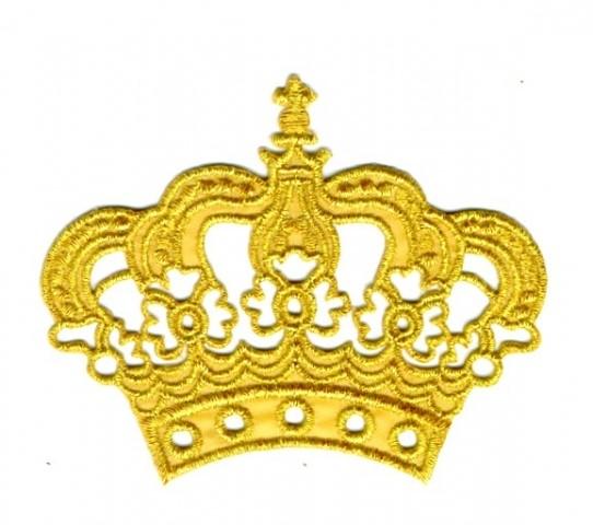 Krone zum Aufbügeln 11,5 x 9,5cm Farbe: Lurex-Gold