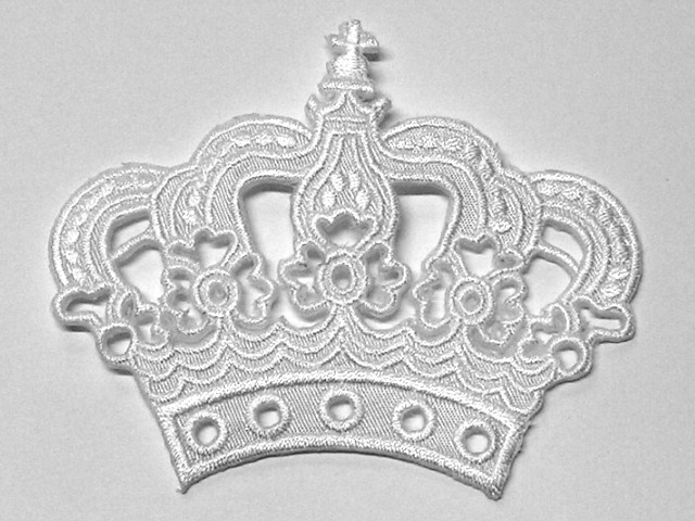 Krone zum Aufbügeln Farbe: Weiss 11,5 x 9,5cm AA490-3