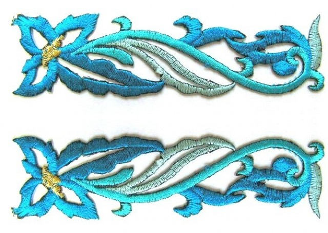 1 Paar Applikationen Farbe: Blau 11,5 x 2,7cm