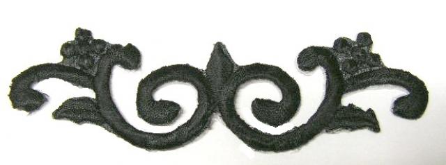 1 Stück Applikationen Tribal Patch Farbe: Schwarz 11,5 x 3,3cm