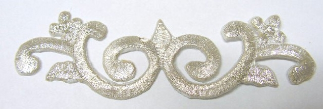 1 Stück Applikationen Tribal Patch Farbe: Silber 11,5 x 3,3cm