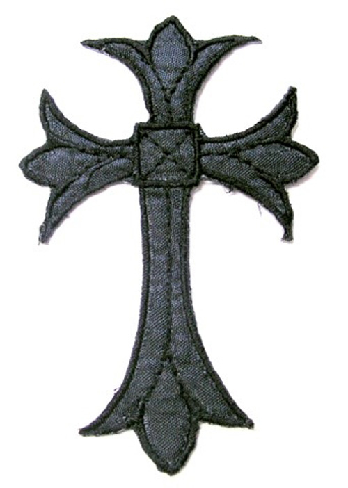 1 Stück Applikationen Triabal Kreuz Farbe: Schwarz 3,3 x 5cm