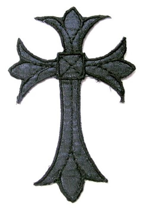 1 Stück Applikationen Tribal Kreuz Farbe: Schwarz 5 x 7,5cm