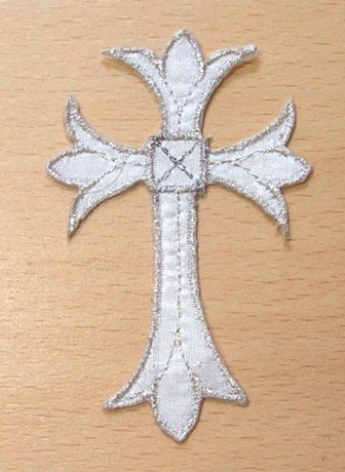 1 Stück Applikationen Tribal Kreuz Farbe: Silber 5 x 7,5cm